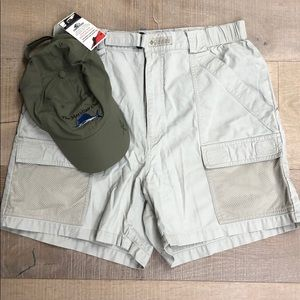 Columbia Khaki shorts and Meridian Club Hat